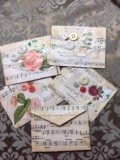 Envelope botanical floral vintage music book page junk journal embellishmen Junk Journal, Journal Cards, Journal Diary, Caleb Y Sophia, Sheet Music Crafts, Book Page Crafts, Art Carte, Floral Vintage, How To Make An Envelope