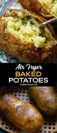 Air Fryer Baked Potatoes Air Fryer Oven Recipes, Air Frier Recipes, Air Fryer Dinner Recipes, Air Fryer Recipes Potatoes, Air Fryer Baked Potato, Air Fry Potatoes, Cooking Recipes, Healthy Recipes, Yummy Recipes