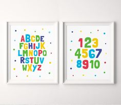 Nursery Decor Printable Art (Set of Alphabet & Numbers Art, Nursery Wall Art, ABC Print, 123 Prin Nursery Wall Art, Nursery Decor, Nursery Prints, Abc Poster, Posters, Printing Websites, Playroom Decor, Wall Decor, Alphabet And Numbers