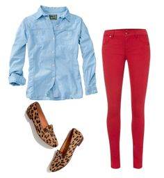Oxford Button-Down Shirt & Red Pants & Leopard Print Shoes   College Gloss