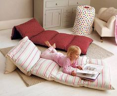 Find yourself a bunch of pillowcases with fun patterns or bright colors and make one of these for your kids.