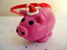 Christmas Pig Ornament Polymer Clay Christmas by MagicalGifties