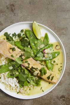 30-Minute Meal: Green Curry Braised Salmon Recipe. Salmon is the PERFECT thing for a protein packed weeknight meal. It cooks so quickly and braising it ensures it won't dry out. Make this for a family meal this week!