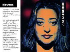 Biografía El nombre de Zaha Hadid irrumpe con mucha fuerza en las noticias de arquitectura de los últimos tiempos.  Esta p...