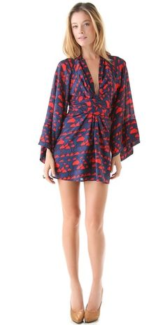 ISSA Printed Kimono Mini Dress. Love. Looks like everything I buy...over and over again.