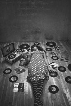 Girls with Vinyl Records
