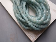 Small light blue turquoise glass beads  matte blue by yukidesigns  £4 & £5