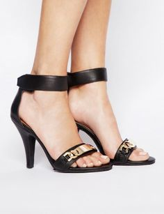 Jeffrey Campbell Hough Link Heels $133 -   Amazing black open-toe leather heels featuring gold chain link details on strap. Has velcro ankle closure. Heel height: 3.5""
