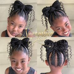 All styles of box braids to sublimate her hair afro On long box braids, everything is allowed! For fans of all kinds of buns, Afro braids in XXL bun bun work as well as the low glamorous bun Zoe Kravitz. Cute Little Girl Hairstyles, Black Kids Hairstyles, Little Girl Braids, Natural Hairstyles For Kids, Baby Girl Hairstyles, Kids Braided Hairstyles, Braids For Kids, Girls Braids, Box Braids Hairstyles