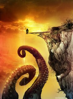 wow. Thefisherman of Giant Octopus by riolcrt on Deviantart