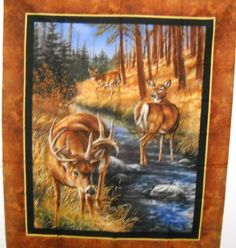 Stoney Creek Wild Wings Deer Wallhanging 36 x 44 Fabric Panel FREE SHIPPING by SeaPillowTreasures on Etsy