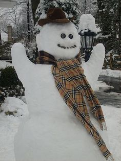 A very happy snowman with snow arms, a cowboy hat and a big 'ol scarf. photo by Danielaustinhall12