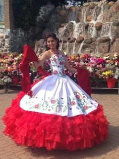 Red And White Embroidery Ball Gown Quinceanera Dresses,Sweet 16 Dresses,Vestidos De 15 Anos Mariachi Quinceanera Dress, Mexican Quinceanera Dresses, Quinceanera Party, Quinceanera Traditions, Dresses Elegant, Sweet 16 Dresses, Simple Dresses, Traditional Mexican Dress, Traditional Dresses