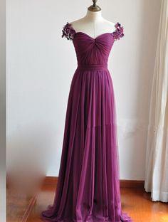Purple Bridesmaid Dresses Sheath/Column Cap Sleeve Handmade Flowers Backless…