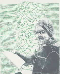 Astronomer Jocelyn Bell and the LGM1 linocut by minouette on Etsy, $39.00