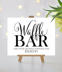 Waffle Bar Sign 8 x 10 sign DIY Printable by CharmingEndeavours