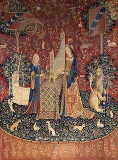"""La Dame à la licorne  """"L'Ouïe""""  Paris (cartons), Flandre (tissage)  Fin XVe siècle  Laine et soie   CL. 10831-10834"""