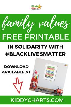 We have created a family values printable for kids that is special to us and we hope will also reflect your family values. #BlackLivesMatter #freeprintable #familyvalues #poster #familyvaluesposter #values #BLM #awareness #kiddycharts #printables Create A Family, Your Family, Family Values, Free Printables, Reflection, Chart, Poster, Kids, Children