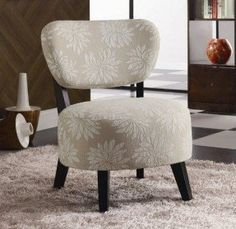 Coaster Accent Chair with Light Floral Pattern in Dark Brown Wood Legs
