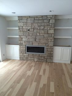 U finished and raw Floating Shelves with LEDs Bookshelves Around Fireplace, Basement Fireplace, Fireplace Built Ins, Home Fireplace, Living Room With Fireplace, Fireplace Design, Fireplace Ideas, Modern Fireplace, Linear Fireplace