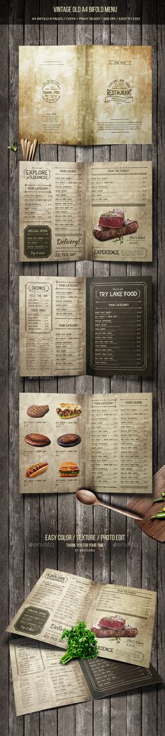 Vintage Old A4 Bifold Menu (8 pages)  — PSD Template #drinks menu #bbq #minimal…