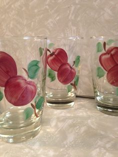 Franciscan Apple Glassware 9 Piece Assorted Sizes USA Vintage Clear Glass Tumblers, Juice Glasses, Dessert Pedestal Glass / 12 Oz 8 Oz 5 Oz by ThePinkVintageRose on Etsy