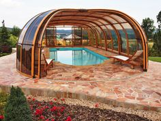Swiming Pools Wooden Pool Loungers With Pool Enclosure Also Gazebo Design And Hand Rails Besides Above Ground Steps Patio Furniture Sets Outdoor Floor Tiles Outdoor Flooring Options Garden Design Ideas Retractable Pool Enclosure