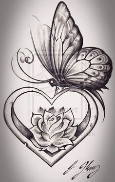 Butterfly Heart by *KingsArt-1 on deviantART . love the shading and shape of the rose.