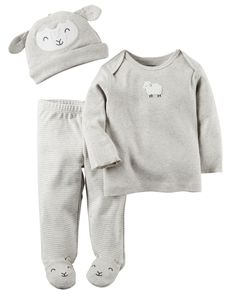 With built-in character footies, these cute pants keep baby cozy from head to toe with a matching tee and cap to top it off!