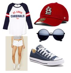 """St. Louis Cardinals baseball game"" by emi-zambrana ❤ liked on Polyvore featuring One Teaspoon and Converse"