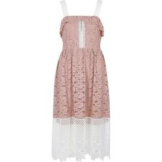 River Island Light pink and white lace midi dress (81 CAD) ❤ liked on Polyvore featuring dresses, pink, ri limited edition, sale, women, tall dresses, pink frilly dress, pink ruffle dress, ruffle midi dress and full skirts