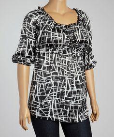 f67916785b9 White   Black Abstract Empire-Waist Top - Plus
