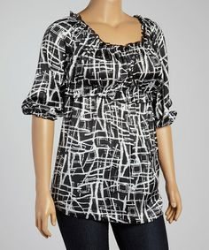 Another great find on #zulily! White & Black Abstract Empire-Waist Top - Plus #zulilyfinds