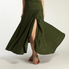 Womens summery organic cotton skirt with flowing style. Fair trade skirt made by artisan cooperatives. Ethical fashion. Camo.