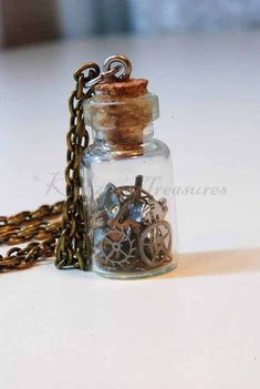 CHIC*MALL Mini Clear Empty Glass Teardrop Pendant Charm Bottles Desire Bottles