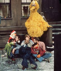 Jim Henson, Richard Hunt, Frank Oz, and Jerry Nelson on Sesame Street with Kermit, Bert, Cookie Monster, and Ernie. I think this is my heaven.
