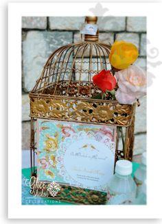 Shabby chic bridal shower #lovebirds theme birdcage Advice cards