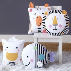 New collection of adorable, plush baby cushions. Featuring the brave lion, curious giraffe, friendly duck and adventurous fish these mini pillows make a wonderful new baby gift and will look great in a modern nursery. Baby Pillows, Kids Pillows, Throw Pillows, Bolster Pillow, Neck Pillow, Animal Cushions, Animal Nursery, Safari Nursery, Handbags