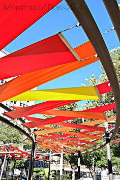 Momma of Dos: ::San Antonio // Riverwalk:: San Antonio Riverwalk, Urban Landscape, Landscape Design, Canopy Design, Shade Structure, Parking Design, Diy Pergola, Pergola Kits, Street Furniture