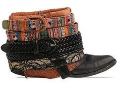 Luxury Jones Boots - Upcycled from Vintage Cowboy Boots, Belts, Fabrics, Lace, and Chains $399.99