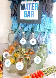 """OMG I love this idea! Perfect for long bbq's to stay hydrated wile drinking and great for kids to feel included in mixing """"cocktails"""""""