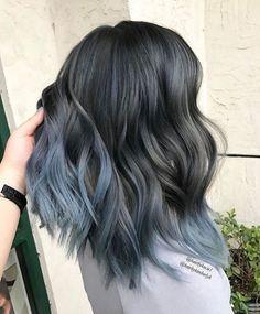 braune haare grau färben, bob frisur im obre look, graue spitzen