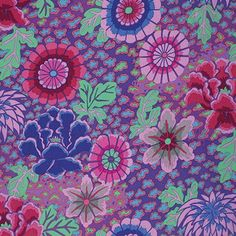 Floral Flowers, Purple Flowers, Free Spirit Fabrics, Paper Fans, Purple Fabric, Cotton Quilting Fabric, Hygge, Pink And Green, Sewing Projects