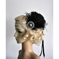 Rhinestone Flapper Headband 1920'S Flapper Headpiece the Great Gatsby... ($54) ❤ liked on Polyvore featuring accessories, hair accessories, headbands & turbans, white, gatsby headband, white feather headband, 1920s flapper headband, white fascinator and vintage hair accessories