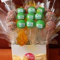 Custom corporate cake pops by PopCakes of Canberra.