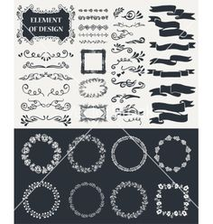 Hand-drawn elements vector. Frames borders and ribbons by Liubou on VectorStock®