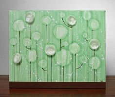 Green Flower Painting  Medium Textured Acrylic on by Amborela, $79.00