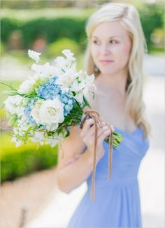 blue and white bridesmaid bouquet #bridesmaid #bouquet #weddingchicks http://www.weddingchicks.com/2014/01/30/jekyll-island/
