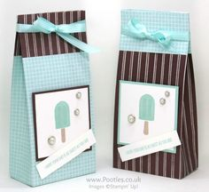 Stampin' Up! Demonstrator Pootles - Super Huge Cool Tasty Treats Bag from a sheet of 12 x 12 double sided paper. Click through for more details and video tutorial