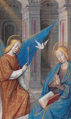 "Manuscript illuminator workshop of Jean Poyer, ca 1500, ""The Annunciation"", Tours."